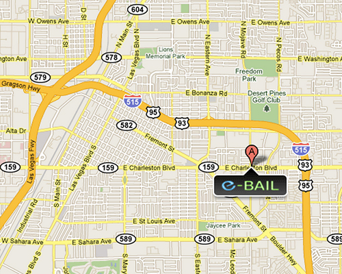 Map of eBAIL Las Vegas Bail Bonds Location